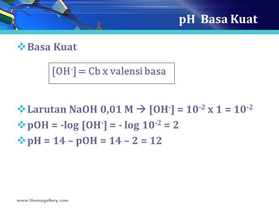 pH Basa Kuat Basa Kuat [OH-] = Cb x valensi basa